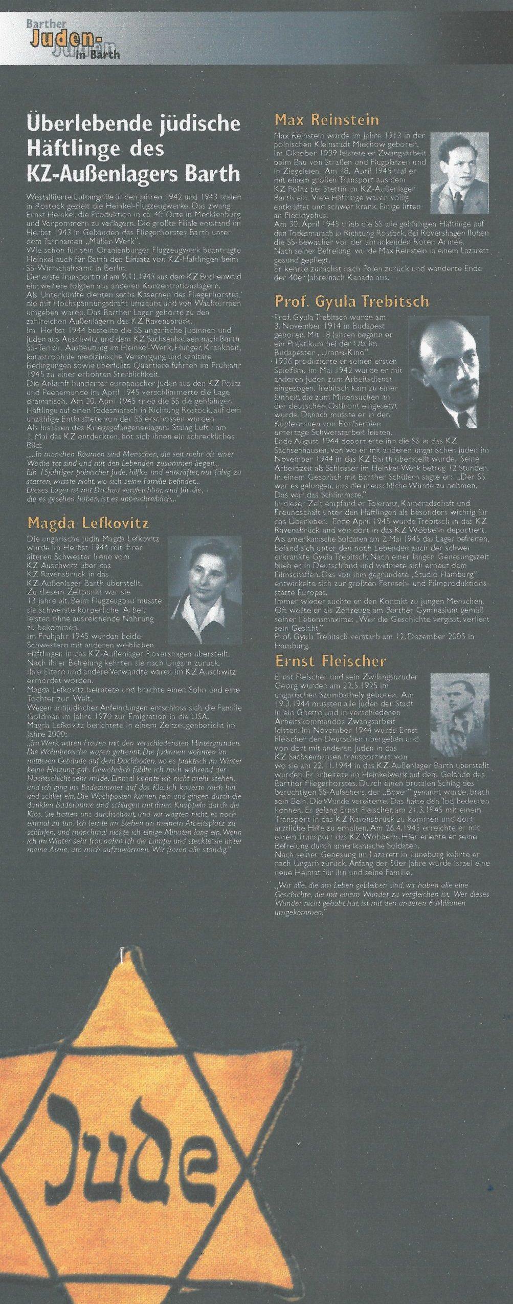 Überlebende jüdische Kriegsgefangene des KZ-Außenlagers Barth